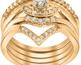 Diamond 1/2ct 4-Ring Stackable Yellow Gold Diamond Solitaire Wedding Engagement Set