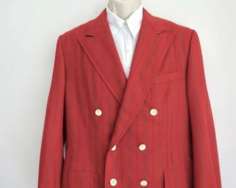 60s Red Wool Stripe Blazer/ Double Breasted Jacket with Peaked Lapels/ 40 Regular/ Carnaby Street/ Swinging 60s Blazer/ Austin Powers