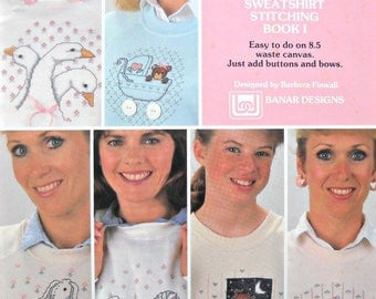 Buttons & Bows Sweatshirt Cross Stitching Book 1, by Barbara Finwall, Vintage 1988