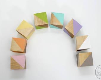 Painted Wood Blocks Set - Pastel Rainbow
