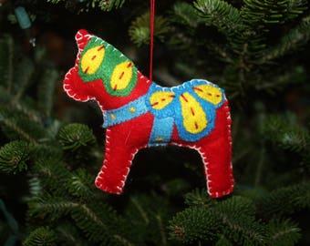 Felt Dala Horse Ornament