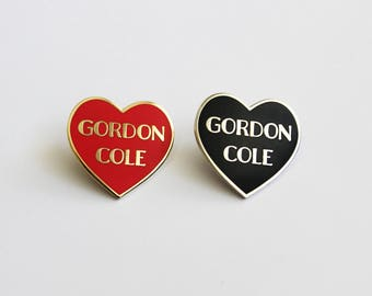 "Gordon Cole Red Gold or Black Silver Heart Pin // Twin Peaks inspired // 1.25"" hard enamel lapel pin"