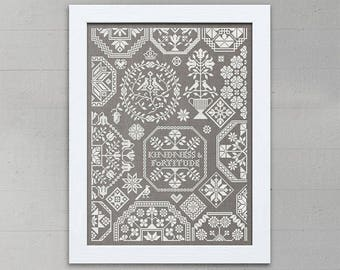 INSTANT DOWNLOAD Kindess & Fortitude Valentine's Day sampler PDF cross stitch patterns by Modern Folk monochromatic love sweetheart