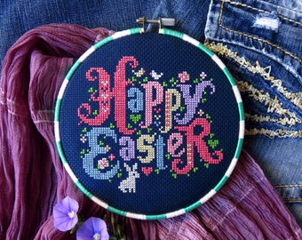 INSTANT DOWNLOAD Happy Easter PDF cross stitch pattern by Lucky Star Stitches at thecottageneedle.com Spring garden bunny rabbit eggs