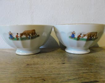 Vintage French Cafe Au Lait Bowls