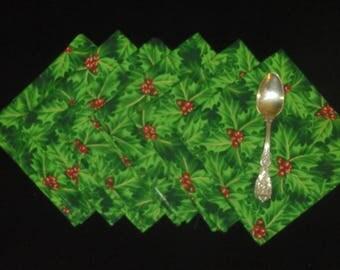 Holly Napkins, Table Runner Set, Christmas Napkins - Set of Six Luncheon Napkins & Matching Table Runner, Holly Table Runner, Holiday Party