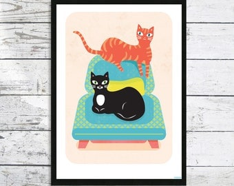 Deux Amis - Two friends Cat Print - A4 Cat prints - Cat picture - Cat lover gift - Cat Lovers - Cat Print - Modern cats prints
