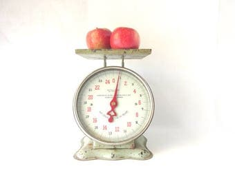 Vintage Kitchen Scale Chippy Farmhouse Rustic Kitchen Decor Green