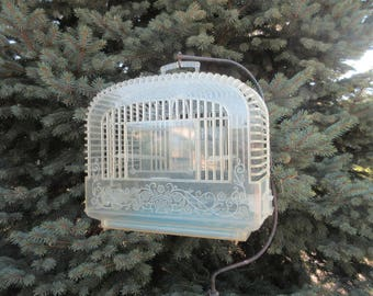 1950s Bird Cage / Clear Plastic / Embossed Floral / Perches Feeders / Summer Cottage