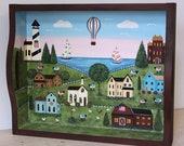RESERVED FOR MISTERJINGLES164 - Summer Americana Folk Art Trays, Saltbox House, Rural Scene, Lighthouse, Flowers, Sheep, Red Barn, Sailboat