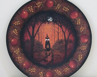 Halloween Folk Art Wood Plate, Primitive Painting, Witch with Basket of Apples and Black Cats on Forest Path in Moonlight,  MADE TO ORDER