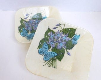 Fiberglass Bowls Set Square Snack Size with Violets and Butterflies Mid Century Kitchenware Patio Deck Picnic
