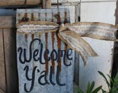 Welcome Y'all, mason jar tin sign, rustic wall decor, wall hanging, door hanger, country, summer, reclaimed tin sign, yard art, Welcome Sign
