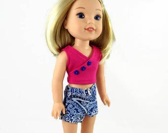 14 inch doll clothes, Shorts, top,  doll clothes,  designed to fit like wellie wishers™ doll clothes, summer outfit