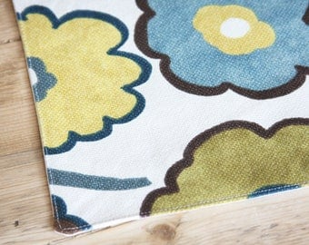 Reserved for Liz - Placemat for your Dog or Cat's Bowl - Brown Yellow Blue Floral: Custom Size