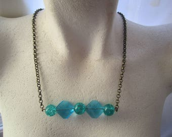 Aqua Blue BoHo Necklace ./. Blue Glassbead Necklace ./. Sparkling Blue Necklace ./. Collier Bleu ./. Made in Sweden ./. Bronzecolored Chain