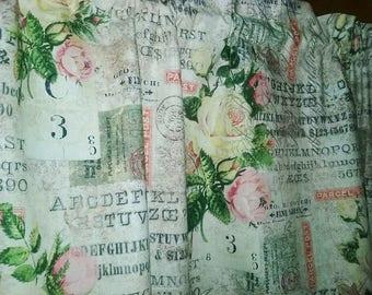 "ROSE COLLAGE Valance or Panel  Cotton  Print Window treatment 12"" 14"" 18"" 24"" 32"" Long, Custom"