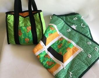 Baby Blanket and Diaper Bag Set Clown Fish Design