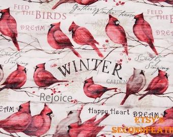 Cardinal Winter - 100% Cotton Fabric - 1 yards - B10