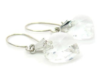 Swarovski Heart Earrings. Faceted Crystal Petite Dangles. Kidney Wires. Original Hang Tag. Made in Austria. Sweet Vintage Jewelry