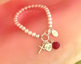 Pearl bracelet with Cross, Initial, and Birthstone, baptism, communion gift, cross bracelet