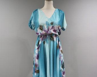 Vintage Dress Womens Size 10 12 Short Sleeve Blue Floral Flowy Dance