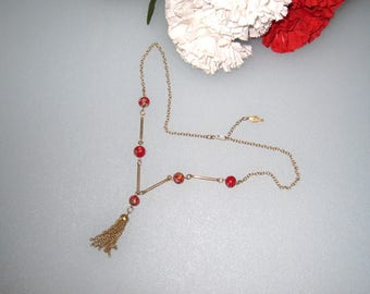 """1970s Sarah Coventry Floral Millefiori Beads Vintage Necklace / Adjustable Up To 21"""" w/ 2"""" Tassel / US Shipping Included"""