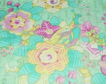 1 Yard GIRLFRIENDS MEGHAN Jennifer Paganelli D1342 - 635 Mint Aqua Pink Sis Boom Free Spirit Feminine Fabric