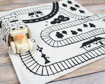 Wooden Train and Playmat, Waldorf Train Toy, Montessori Gift, Stocking Stuffer, toddler christmas gift, Boys Christmas Gift, Wooden toy