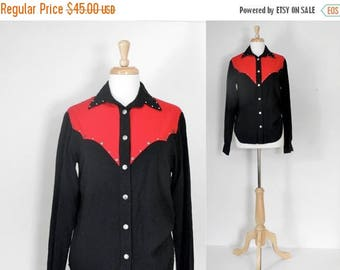 ON SALE 70s Shirt / Western Shirt / Cowgirl Shirt / Rockabilly Blouse / Lucille / 70s Fashion / Festival Style Shirt