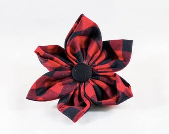 Classic Buffalo Check Plaid Girl Dog Flower Bow Tie, Holiday Dog Bow Tie, Bowtie, Red and Black Dog Bow Tie, Christmas, Fall