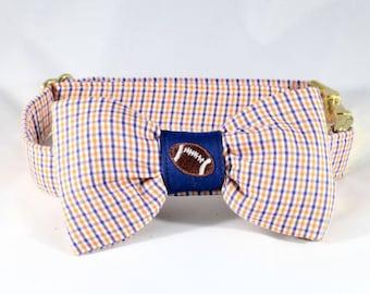 Preppy Blue and Orange Gingham Game Day Dog Bow Tie Collar, University of Virginia Cavaliers UVA Football