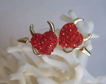 Red Crystal Hearts with Gold Devil Horns n Tail Earrings