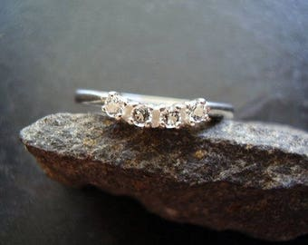 Genuine White Topaz Curved Wedding Band Solid 925 Sterling Silver, 4 Stone Ring, Stacking Ring, Gifts For Her, Anniversary Ring, November