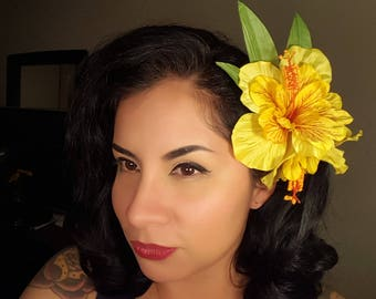 Tropical Hibiscus Hair Clip:  Yellow Hibiscus