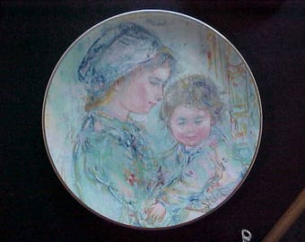 Vintage Royal Doulton 1973 Colette and Child Limited Edition Plate with Box, First in Mother and Child Series by Edna Hibel
