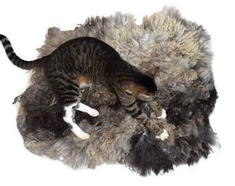 Cruelty Free, Shetland, Wool Fleece, Hand Felted, Cat Bed, Pet Bed, Dog Mat, Ethical Sheepskin, Accent Rug, Leather Free, Basket Liner