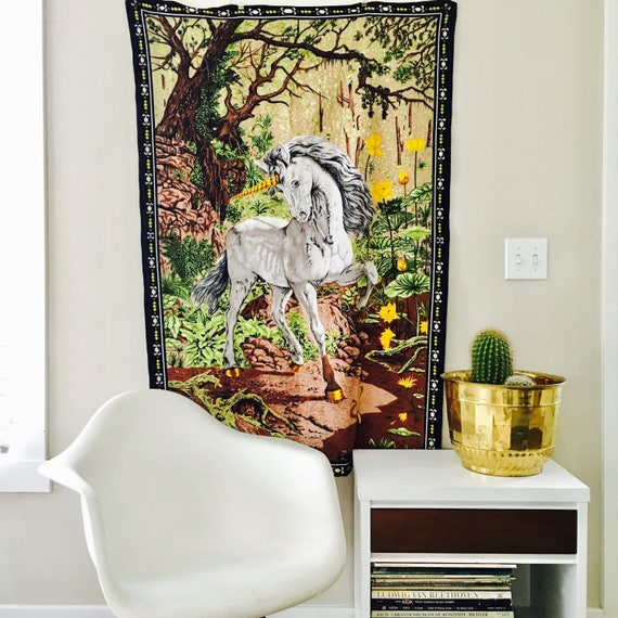 Vintage Unicorn Tapestry Large Landscape Wall Hanging Unicorn Textile Wall Art