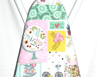 Ironing Board Cover - Floral Globe, Doves and Bicycle in pink, green, blue and yellow - Laundry and Housewares