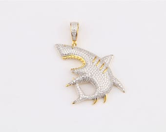 Shark Pendant 14k Gold Plated on 925 Sterling Silver with AAA Cubic Zirconia