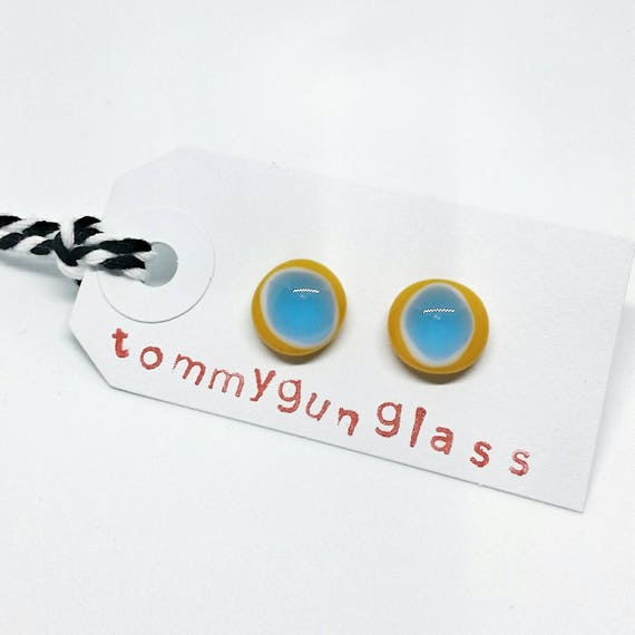 Turquoise and Yellow Glass Stud Earrings
