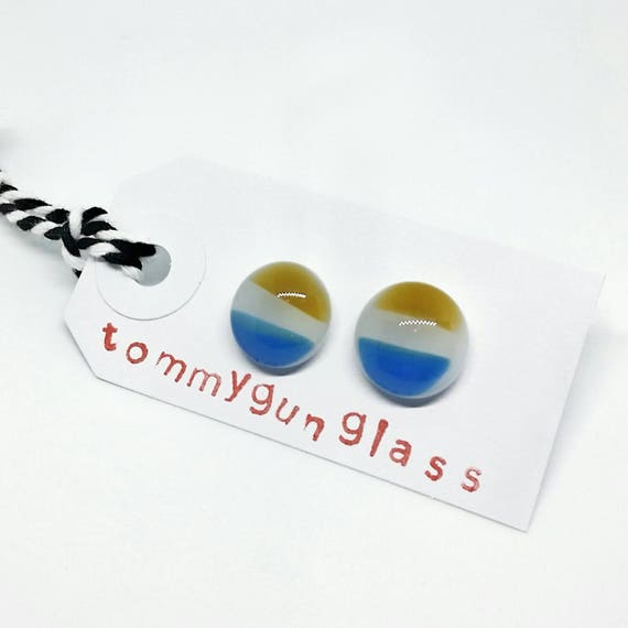 Blue, Yellow and White Striped Glass Stud Earrings