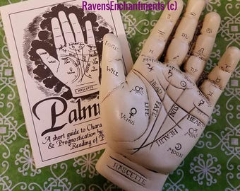 Palmistry Hand with Booklet gypsy fortune telling resin sculpture