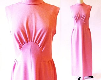 1/2 Off SALE 70s Pink Maxi Dress , 1970 Long Pink Polyester Gown, Pink Dress