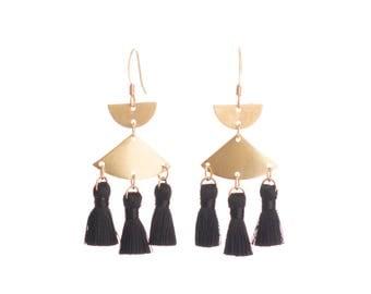 Black & Brass tassel earrings - mini tassels - Nickel free gold plated hooks -Black accessories - black tassels dramatic earrings chandelier