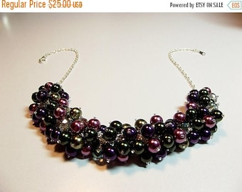 30% OFF SALE thru Mon Green Burgundy Wine Purple Pearl and Crystal Cluster Necklace, Mothers Day, Mom Sister Bridesmaid Jewelry Gift, Christ