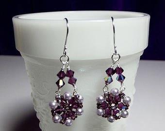 40% OFF SALE thru Tues Purple Crystal and Pearl Chandelier Drop Earrings, Christmas Gift, Mom Sister Grandmother Girlfriend Bridesmaid Jewel