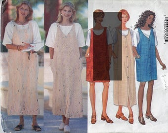 Sewing Pattern Womens 1990s Jumper in Two Lengths and T-Shirt Top Butterick 5538 Size 8-10-12 Bust 31.5-32.5-34""