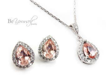 Blush Bridal Earrings Soft Pink Bride Studs Pastel Necklace Wedding Jewelry Swarovski Crystal Vintage Rose Teardrop Earrings Bridesmaid Gift
