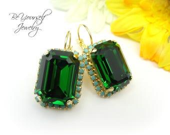 Emerald Bridal Earrings Dark Green Bride Earrings Swarovski Crystal Dark Moss Wedding Earrings Emerald Cut Bridesmaid Gift Wedding Jewelry